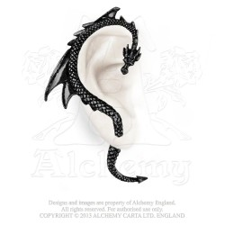 Best Seller! Alchemy Gothic E274B Dragon's Lure Black Stud Ear-Wrap (right)