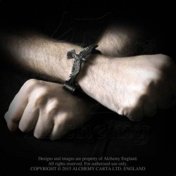 Best Seller! Alchemy Gothic A109 Black Consort leather wrist strap