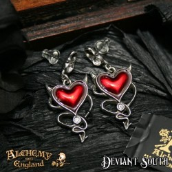 Best Seller! Alchemy Gothic ULFE22 Devil Heart Stud Earrings (pair)