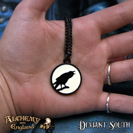 Alchemy Gothic P735 Caw at the Moon Pewter Pendant