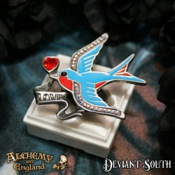 Last Chance! Alchemy Gothic ULFR4 Swallow Love Pewter Ring
