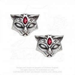 Alchemy Gothic E406 Sacred Cat Studs (pair)