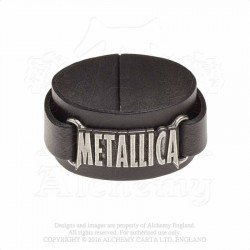 Alchemy Gothic HRWL444 Metallica: logo leather wristband