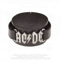 Alchemy Gothic HRWL446 AC/DC: logo leather wristband