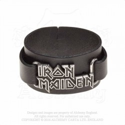 Alchemy Gothic HRWL447 Iron Maiden: logo leather wristband