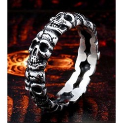 Stainless Steel Stacked Skulls Thin Band Biker Ring (on demand)
