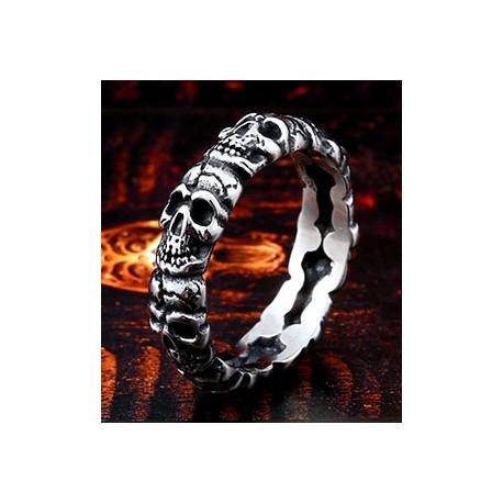 Stainless Steel Stacked Skulls Biker Ring (on demand)
