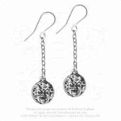 Alchemy Gothic E399 M'era Luna - Man In The Moon: Dropper Earrings (pair)
