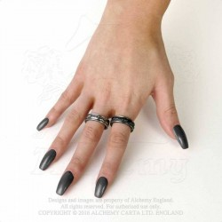 Alchemy Gothic AG-R212 Demon Black & Angel White rings (pair)