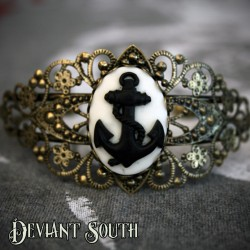 Anchor Cameo Bronze Cuff - Medium Cameo (25x18mm)
