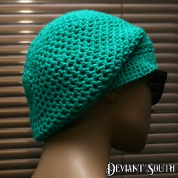 Turquoise Crocheted Slouch Beanie