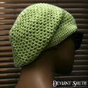 Lime-white Crocheted Slouch Beanie