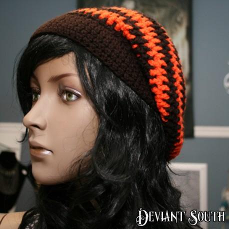 Brown & Orange Crocheted Slouch Beanie