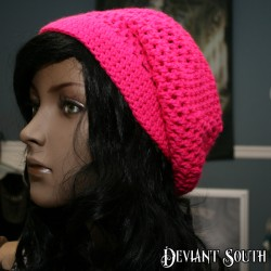 Bright Pink Crocheted Slouch Beanie