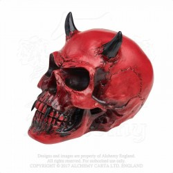 Alchemy Gothic V43 Crimson Demon Skull Desk Ornament
