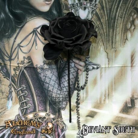 Alchemy Gothic ROSE5 Single Black Rose with Stem