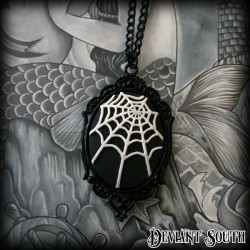 Gothic Black Cobweb Cameo Necklace