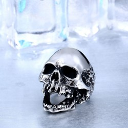 Stainless Steel Screaming Big Punk Rock Biker Skull Ring