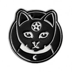 Black Cat Pentagram Crescent Moon Enamel Pin Badge