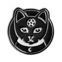 Black Cat Pentagram Crescent Moon Enamel Pin Badge