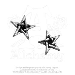 Alchemy Gothic E164 Pentagram Stud Earrings