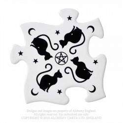 New Release! Alchemy Gothic CJ3 Black Cats Jigsaw Coasters (4 piece)