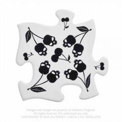 New Release! Alchemy Gothic CJ4 Black Skull Cherries Jigsaw Coasters (4 piece)