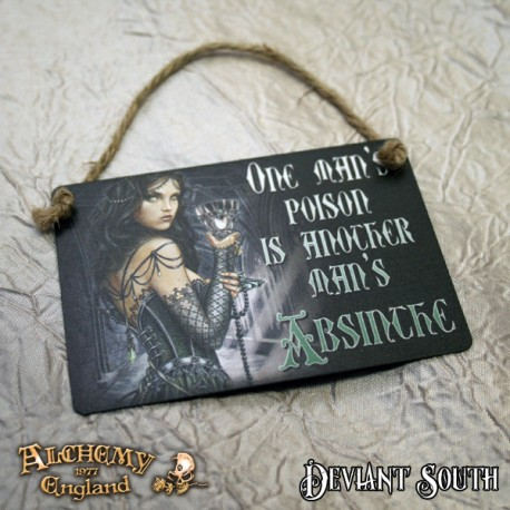 Last Chance! Alchemy Gothic AG-ALHS4 One Man's Poison... Mini Metal Sign