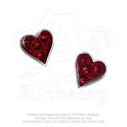 Alchemy Gothic Heart's E332 Blood Stud Earrings (pair)