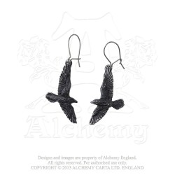 Alchemy Gothic E333 Black Raven Dropper Earrings (pair)
