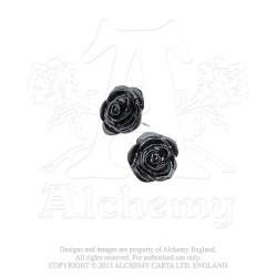 Best Seller! Alchemy Gothic E339 The Romance of Black Rose Stud Earrings (pair)