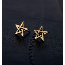 Bronze Pentagram Stud Earrings (pair)
