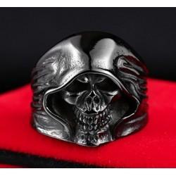 Stainless Steel Reaper Hooded Skull Ring