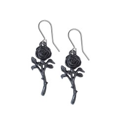 New Release! Alchemy Gothic E421 The Romance of the Black Rose earrings (pair)