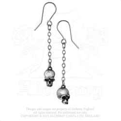 Alchemy Gothic E364 Deadskull Dropper Earrings (pair)