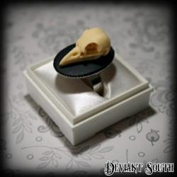 Bird Skull Cameo Silver Ring - Medium Cameo (25x18mm)
