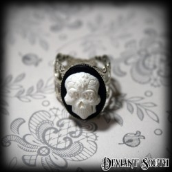 Deviant South Memento Mori Ring featuring Small 3D White Sugar Skull Cameo