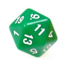 Gaming Die 20 Sided D20 - Green