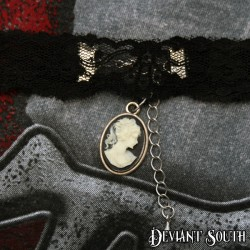 Deviant South Black Lace Choker with Lady Cameo (Facing Right)