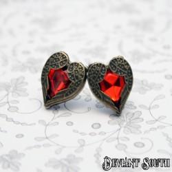 Bronze Angel Wings Red Rhinestone Heart Earrings (pair)