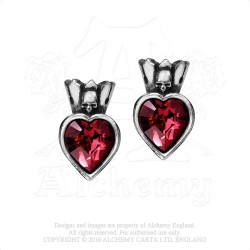 Best Seller! Alchemy Gothic E379 Claddagh Heart stud earrings (pair)