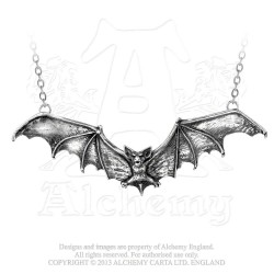 Alchemy Gothic P121 Gothic Bat pewter pendant necklace
